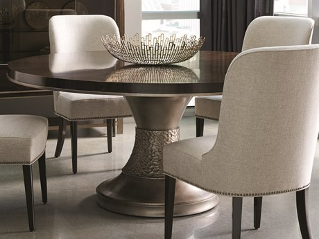 Caracole Modern Streamline Aged Bourbon with Smoked Brass 64'' Wide Round Dining Table CAMM022417202