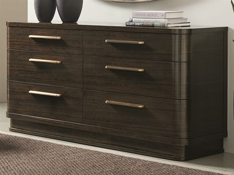 Caracole Modern Streamline Aged Bourbon Six-Drawer Double Dresser CAMM023417011
