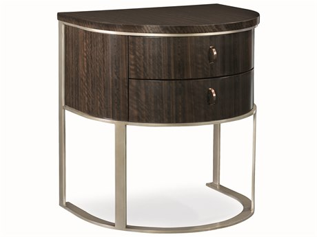 Caracole Modern Streamline Aged Bourbon with Smoked Brass 26''W x 20''D Two-Drawer Nightstand CAMM023417063
