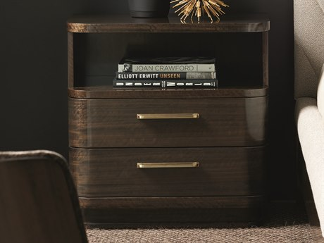 Caracole Modern Streamline Aged Bourbon 28''W x 18''D Rectangular Two-Drawer Nightstand CAMM023417061