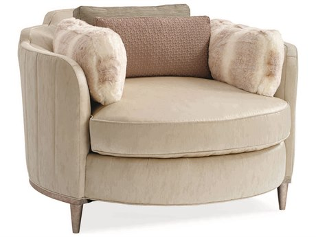 Caracole Classic Channel Beige Tufted Barrel Accent Chair CACUPH015071A
