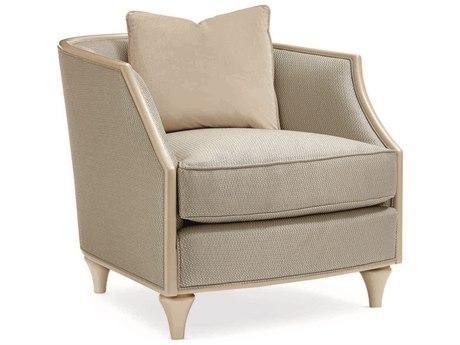 Caracole Classic Pale Grey / Ivory Barrel Accent Chair CACUPH016031A