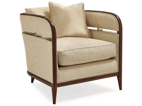 Caracole Classic Cream Barrel Accent Chair with Bracket CACUPH016137A