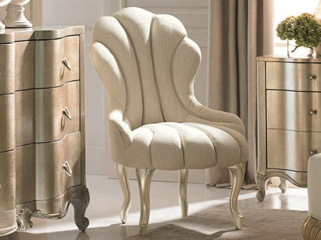 Caracole Classic Ivory Scalloped Accent Chair CACUPH416036A