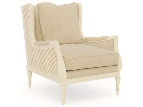 Caracole Classic Ivory / White Wingback Accent Chair with Caning
