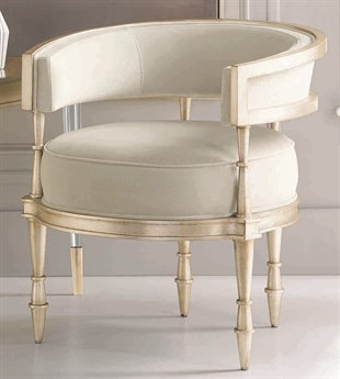 Caracole Classic Cream / Sterling Silver Barrel Accent Chair CACUPH416133A