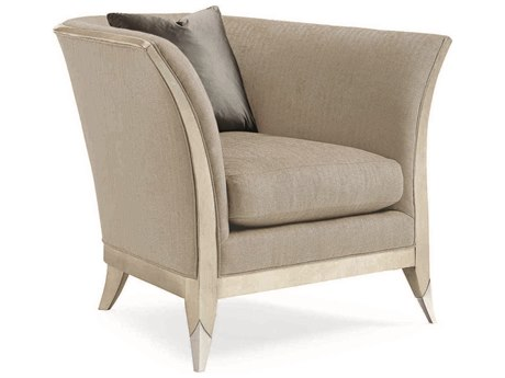 Caracole Classic Brushed Light Grey / Soft Silver Leaf Curvaceous Exposed Accent Chair CACUPH417033A