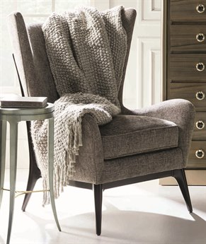 Caracole Classic Grey / Almost Black Mid-Century Wingback Accent Chair CACUPHCHALOU34B