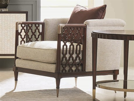 Caracole Classic Beige / Mahogany Accent Chair CACUPHCHAWOO61B
