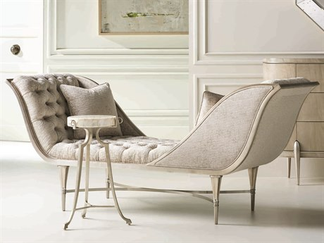 Caracole Classic Grey / Silver Leaf Tufted Chaise Lounge CACUPH417071A