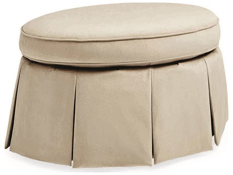 Caracole Classic Beige Skirted Ottoman CACUPH016052A