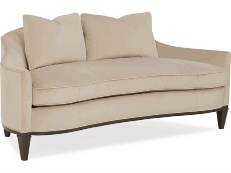 Caracole Classic Beige Buff Curved Loveseat with Bench Cushion CACUPH016021A