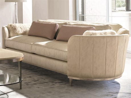Caracole Classic Channel Beige Tufted Barrel Sofa CACUPH015011A