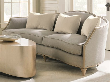 Caracole Classic Pale Grey / Ivory Curved Sofa CACUPH016011A