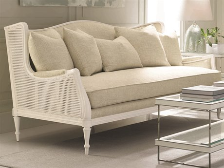 Caracole Classic Ivory / White Sofa with Caning