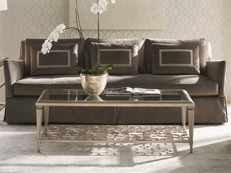 Caracole Classic Soft Seal Grey Skirted Bench Sofa