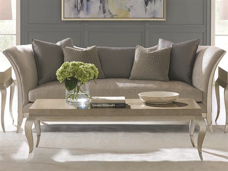 Caracole Classic Brushed Light Grey / Soft Silver Leaf Curvaceous Exposed Sofa CACUPH417012A