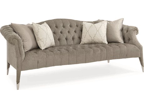 Caracole Classic Soft Brushed Grey Tufted Sofa CACUPH417013A
