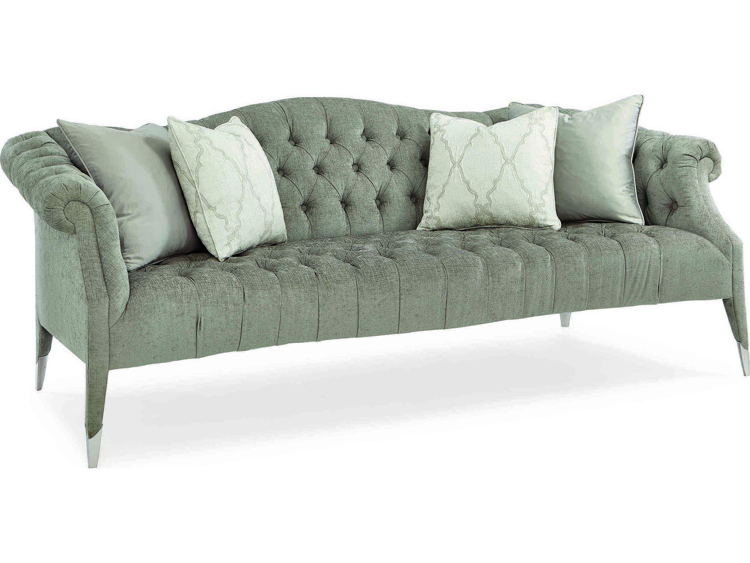 Caracole Classic Soft Brushed Grey Tufted Sofa