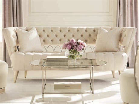 Caracole Classic Pure Ivory / Auric Tufted Sofa CACUPH417111A