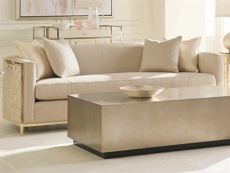 Caracole Classic Neutral Cream / Gold Bullion Bench Sofa