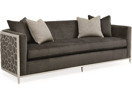 Caracole Classic Charcoal / Lightly Brushed Chrome Bench Sofa CACUPH417211B