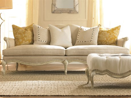 Caracole Classic White Over Gray French Sofa CACUPHSOFCAV11A