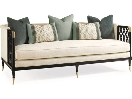 Caracole Classic Cream / Tuxedo Black Bench Sofa CACUPHSOFWOO35A
