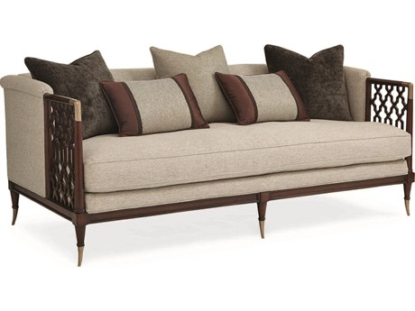 Caracole Classic Beige / Mahogany Bench Sofa CACUPHSOFWOO35B