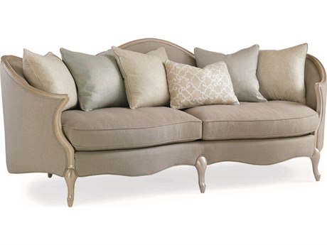 Caracole Upholstery Grey Dawn / Pearlescent Sofa Couch CACUPHSOFWOO38A
