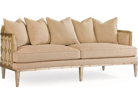 Caracole Classic Beige / Caramel Leaf Honeycomb Sofa CACUPHSOFWOO48A