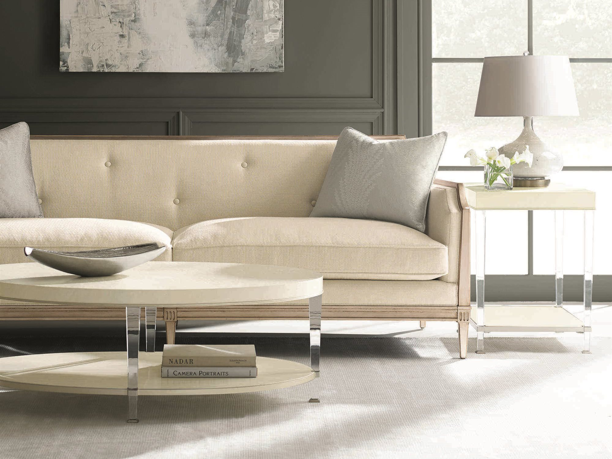 Caracole Classic Ivory Rose Gold Sofa Cacuph416113a