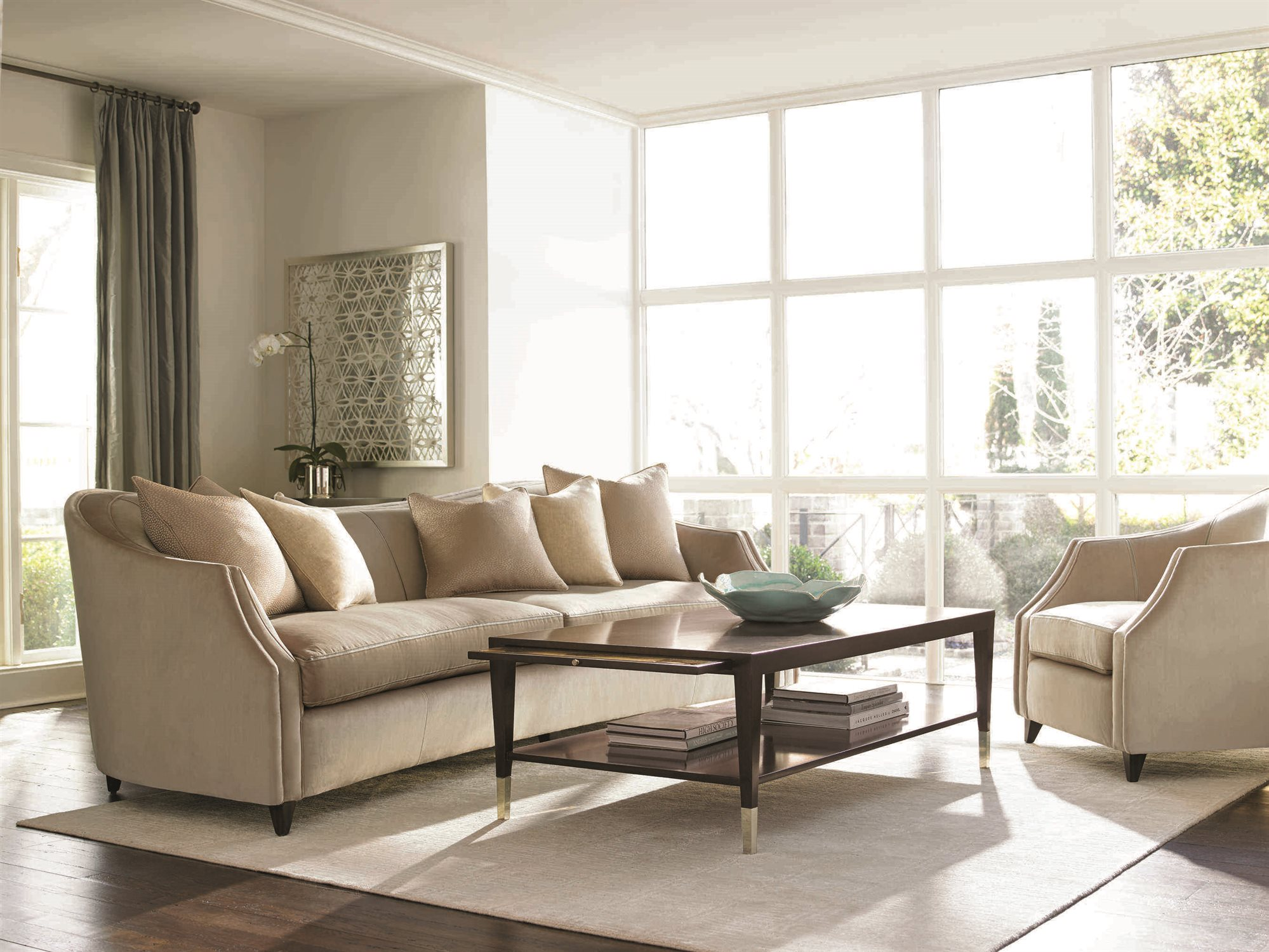 Caracole Classic Soft Camel French Roast Curvaceous Sofa