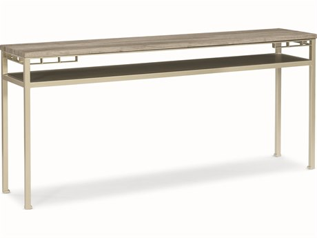 Caracole Modern Uptown Silver Travertine with Jazzy Taupe 66''W x 14''D Rectangular Console Table