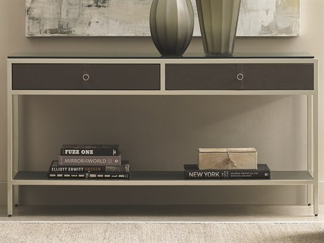 Caracole Modern Uptown Black Glass with Jazzy Taupe 52''W x 15''D Rectangular Console Table CAMM011016442