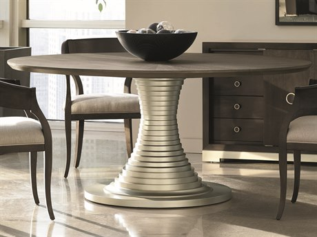 Caracole Modern Uptown Heathered Oak with Jazzy Taupe 68'' Wide Round Pedestal Dining Table CAMM012016201