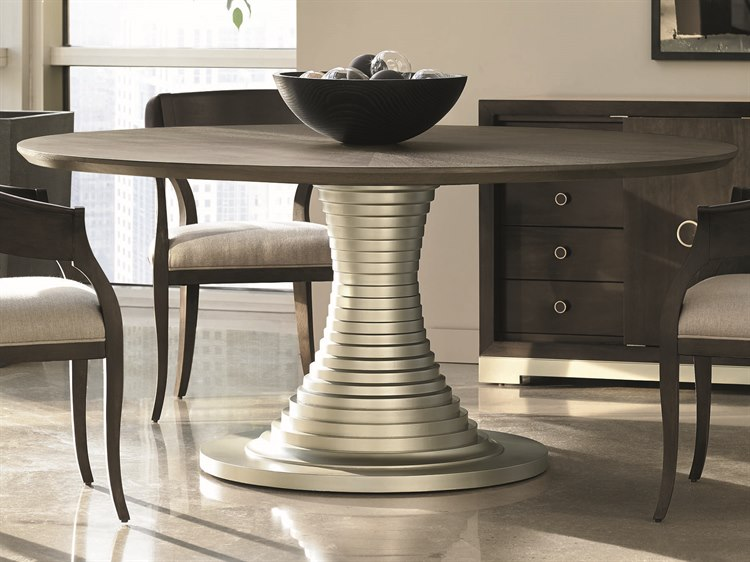 Caracole Modern Uptown Heathered Oak With Jazzy Taupe 68 Wide Round Pedestal Dining Table