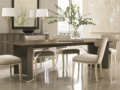 Caracole Modern Uptown Heathered Oak with Jazzy Taupe 105''W x 44''D Rectangular Trestle Dining Table CAMM012016202