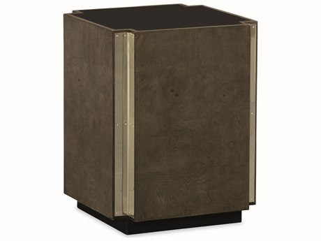 Caracole Modern Uptown Natural Black with Heathered Oak & Wisper of Gold 14''W x 18''H Square Ash Burl Drum Table CAMM011016418