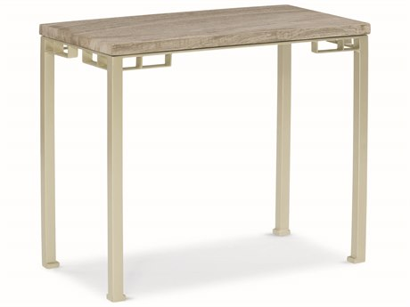 Caracole Modern Uptown Silver Travertine with Jazzy Taupe 26''W x 14''D Rectangular End Table