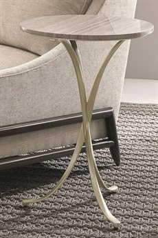 Caracole Modern Uptown Silver Travertine with Jazzy Taupe 18'' Wide Round End Table