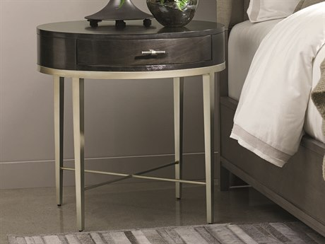 Caracole Modern Uptown Smoked Peppercorn with Jazzy Taupe 26'' Wide Round End Table
