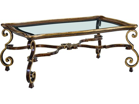 Carson Aria Clear / Brown / Aged Gold 50'' Wide Rectangular Coffee Table