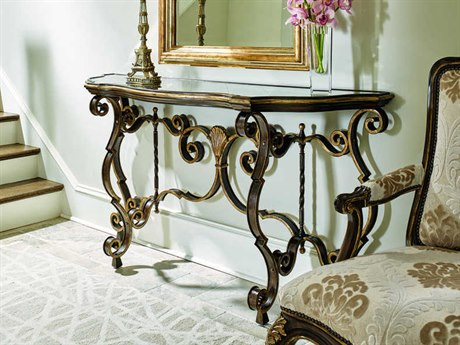 Carson Aria Glass / Brown / Aged Gold 68'' Wide Demilune Console Table CARCAR06