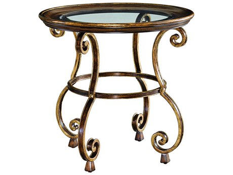 Carson Aria Clear / Brown / Aged Gold 29'' Wide Round End Table