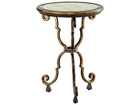 Carson Aria Glass / Brown / Aged Gold 18'' Wide Round End Table CARCAR30