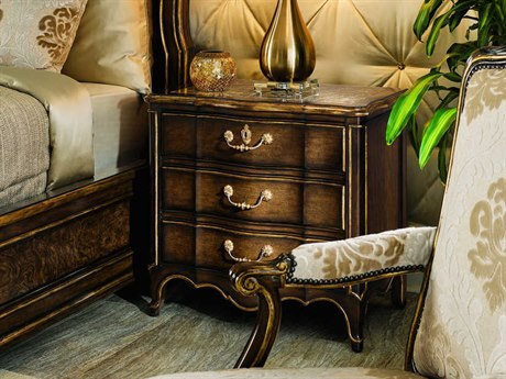 Carson Aria Madeira Marble / Brown / Aged Gold Three-Drawer Nightstand