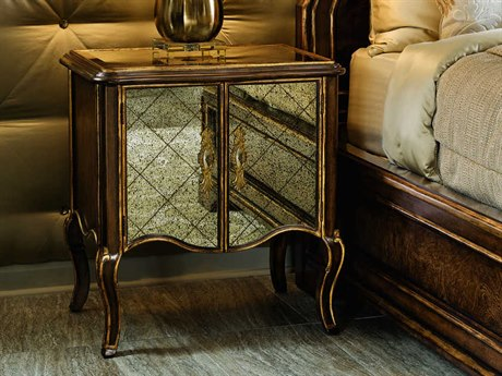 Carson Aria Glass / Brown / Aged Gold Nightstand CARCAR13