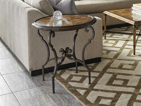 Carson Cadence Brown / Bronze 28'' Wide Round End Table CARCCA041