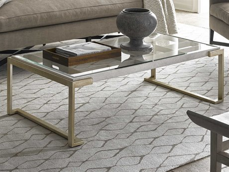 Carson Ensemble Clear / Cashmere Silver 57'' Wide Rectangular Coffee Table CARCEN011